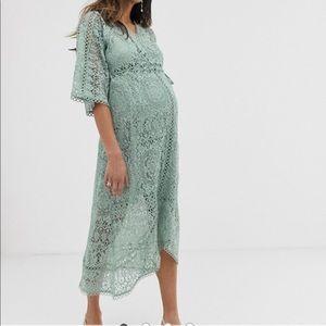 ASOS Maternity Lace Wrap Midi Dress